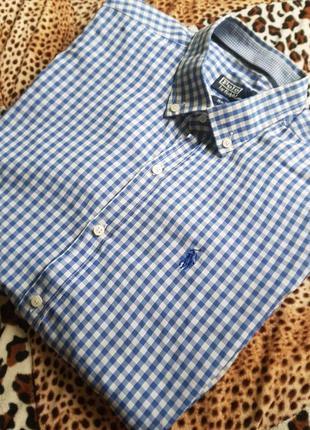 Рубашка polo by ralph lauren (l-xl) с длинным рукавом в клетку синяя/белая