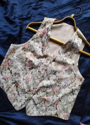 Винтажная цветочная жилетка безрукавка жилет ретро винтаж