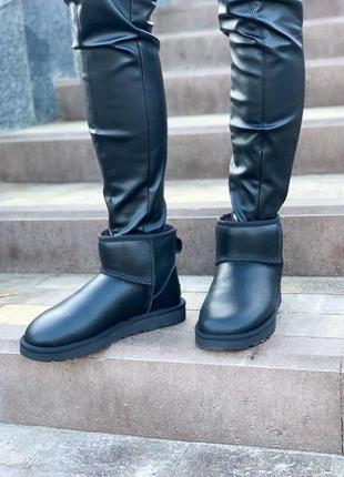 Шикарные женские кожаные сапоги ugg mini в черном цвете /осень/зима/весна😍