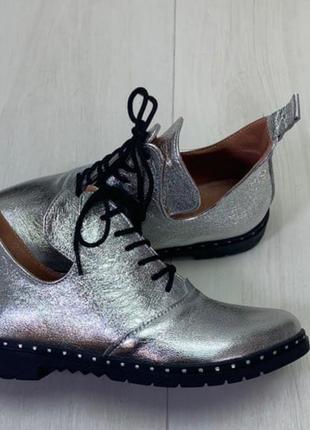 Туфли серебристые натуральная кожа