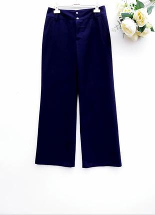 Тёплые брюки штаны повседневные шерстяные штанишки тёмно синие