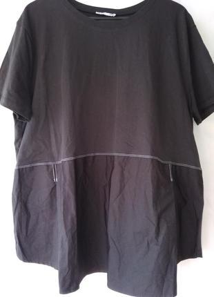 Комбинированная футболка oversize zara woman turkey