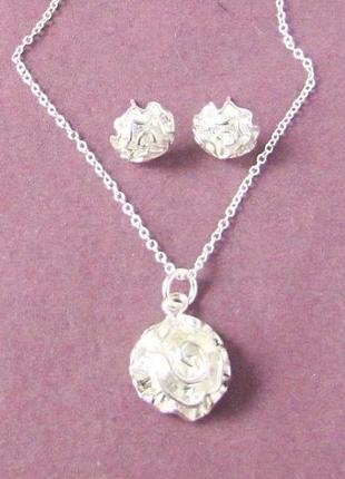 🏵️набор бижутерии в серебре 925 серьги и кулон на цепи розы, новый! арт.2215