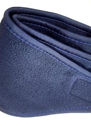 Мужская синяя флисовая теплая повязка наушники на липучке