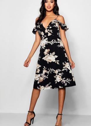 Платье миди цветы черное
