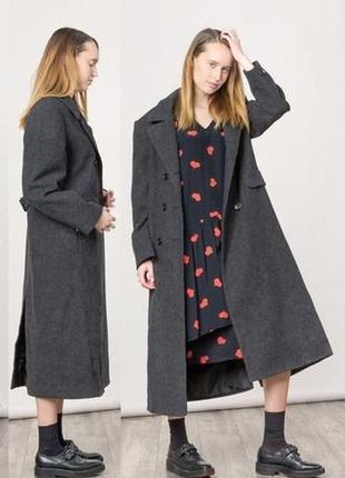 Шерстяное классическое длинное пальто marks & spencer