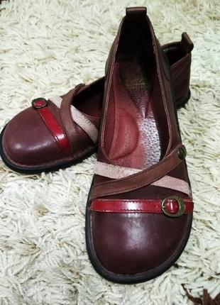 Туфли, балетки на низком ходу, кожа, стелька 26см. 1+1= 50% скидки на 3ю вещь.