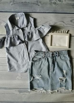 Шикарный комплект джинсовая юбка и топ майка блузка с рюшами 8-9-10 лет 134 р