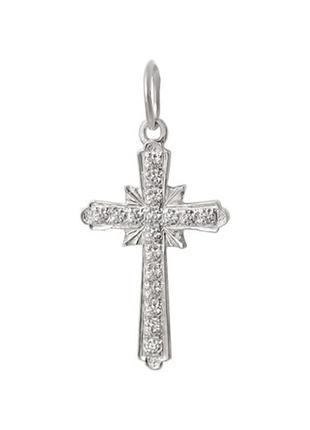 Крестик , хрестик , серебряный с камнями