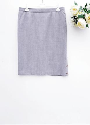 Меланжевая юбка миди с пуговицами тёплая юбка миди светло серая юбка