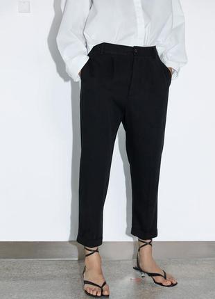 Брюки черные zara /джогеры классические штаны zara