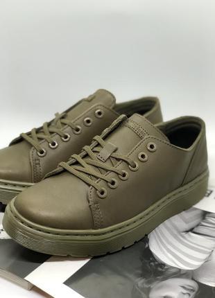 Новые туфли мартинсы из натуральной кожи цвета хаки