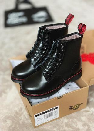 Кожаные женские ботинки dr.martens в черном цвете /осень/зима/весна😍