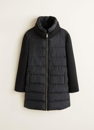 Пальто комбинированное шерстяное mango стёганная куртка пуховик анорак пуффер  не zara h&m