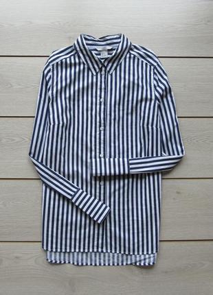 Удлиненная хлопковая рубашка в полоску от h&m