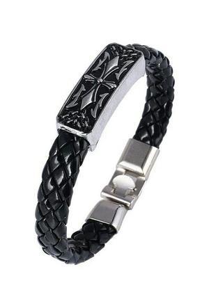 Стильный черный браслет с металлической пряжкой винтаж старинный стиль
