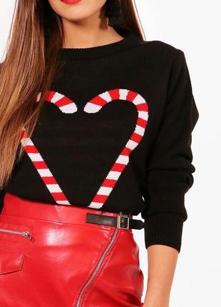 Чёрный свитер boohoo  candy 🍭 женская кофта с сердечком ❤️❤️🧡💛💚 и скидки 💌🍫