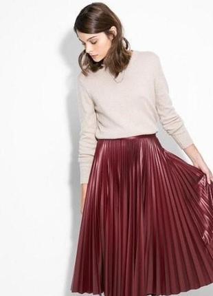 Шикарная плиссированная кожаная юбка-миди винного цвета!!! новая!