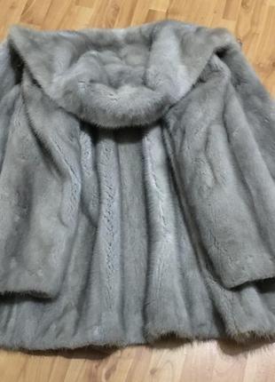 Шикарная голубая шуба норковая греция 48-50