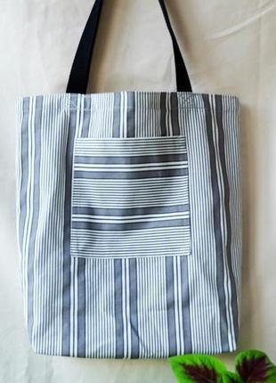 Сумка для покупок в полосу, эко сумка, торба, сумка шоппер 21