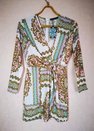 Нежное фактурное мини платье с драпировкой boohoo