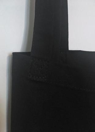 Черная простая тканевая хлопковая эко сумка (шоппер) из плотного хлопка5 фото