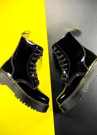 💖акция💖dr.martens jadon black glass, женские зимние ботинки с мехом доктор мартинс