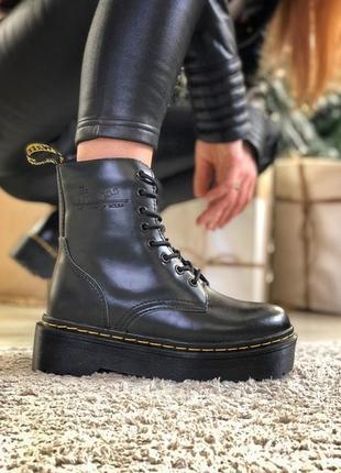 💖акция💖женские ботинки зимние dr.martens jadon black, черные с мехом