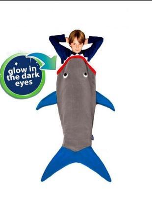 Детский, светящийся плед-спальник акула