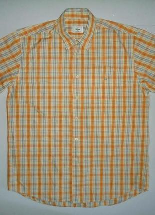 Рубашка lacoste с кор.рукавом клетка l