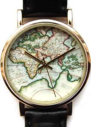 Карта мира часы из сша с кожаным ремешком механизм singapore sii