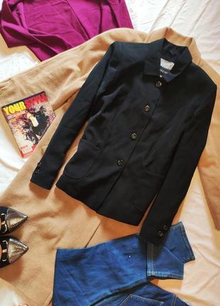 Пиджак жакет прямой бойфренд чёрный классический с большими карманами