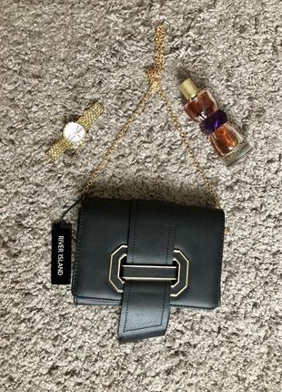 Женская чёрная сумочка на цепочке чёрная сумка клатч