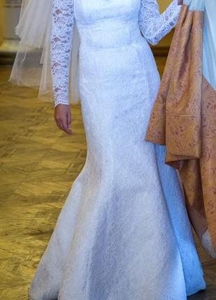 Свадебное платье годе, кружева, весільна сукня, s