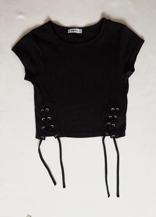 Чёрный укороченый топ с завязками от fb sister