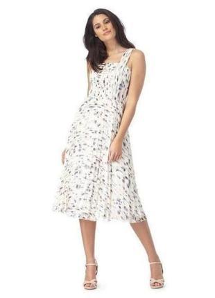 Платье белое плиссерованное плиссе миди синее розовое на подкладке john rocha