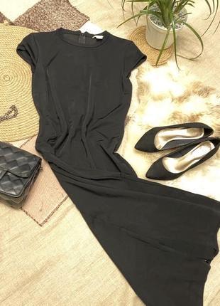 Элегантное чёрное платье миди