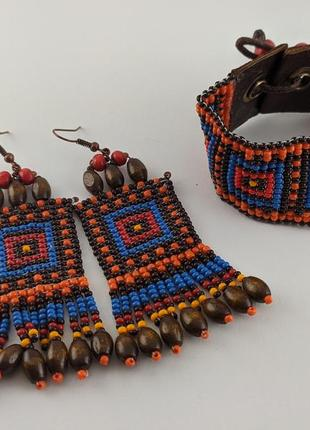 """Браслет и серьги """"африка"""" сережки, комплект из бисера и бусин."""