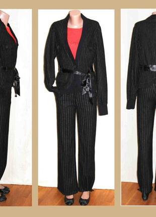 Брючный тёплый костюм шерсть в полоску, жакет only + брюки divided s/m
