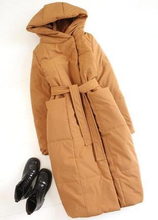 Пуховик одеяло оверсайз кемел длинный с поясом с капюшоном карманами зимний тёплый новый