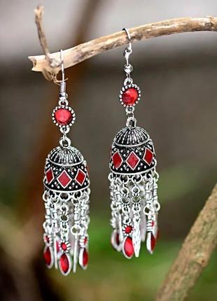 Шикарные индийские восточные серьги с куполом красные