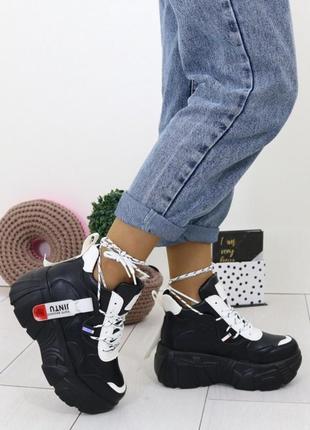 Массивные чёрные кроссовки на высокой подошве,чёрные кроссовки на массивной платформе