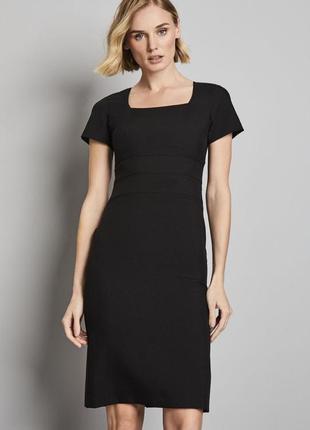 Simon jersey серое чёрное платье миди классическое на подкладке шерстяное