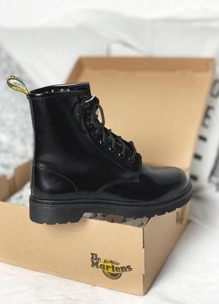 Распродажа! полностью черные женские ботинки dr.martens с мехом /осень/зима/весна😍