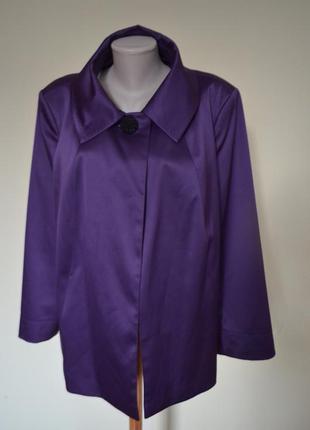 Супер стильный нарядный жакет большого размера фасон трапеция фиолетовый