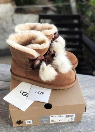 Распродажа! женские зимние сапоги с мехом ugg gita brown suede /осень/зима/весна😍