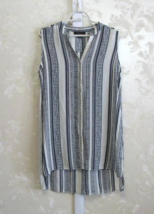 Удлиненная блуза-рубашка без рукавов