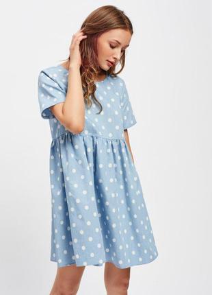 Джинсовое платье в горошек denim co