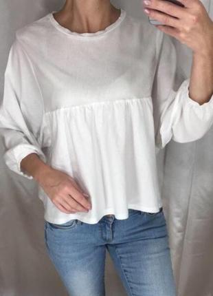 Белая кофта с объёмными рукавами zara