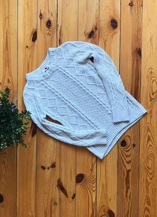 Тёплый ажурный вязанный акриловый свитер atm